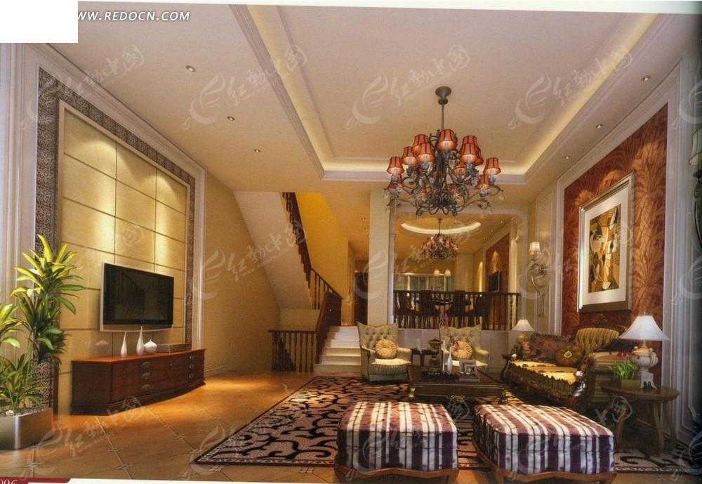暖色调跃层式客厅效果图