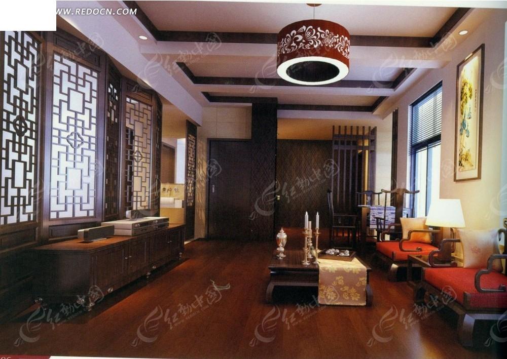 中式古典      沙发 茶几 台灯 壁画 电视机 电视柜 水晶吊灯 室内图片