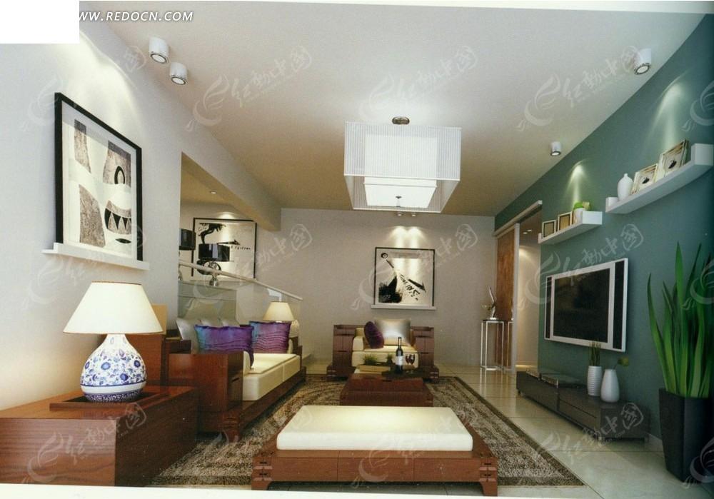 绿色开放小居室客厅效果图