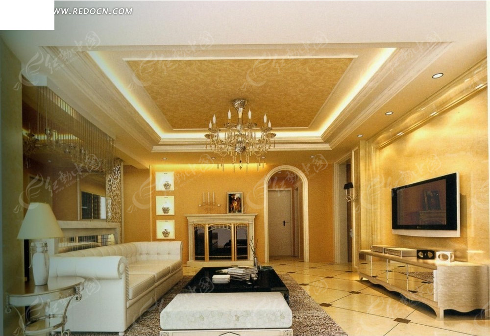 金色调白色沙发客厅效果图