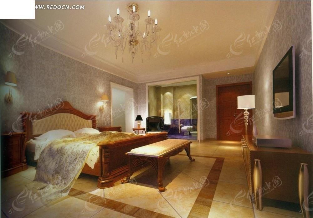 欧式金色华丽卧室效果图