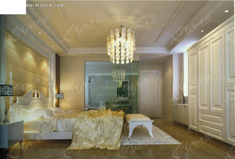 欧式致美      大床 床头柜 衣柜 水晶吊灯 台灯 水晶吊灯 窗帘 室内