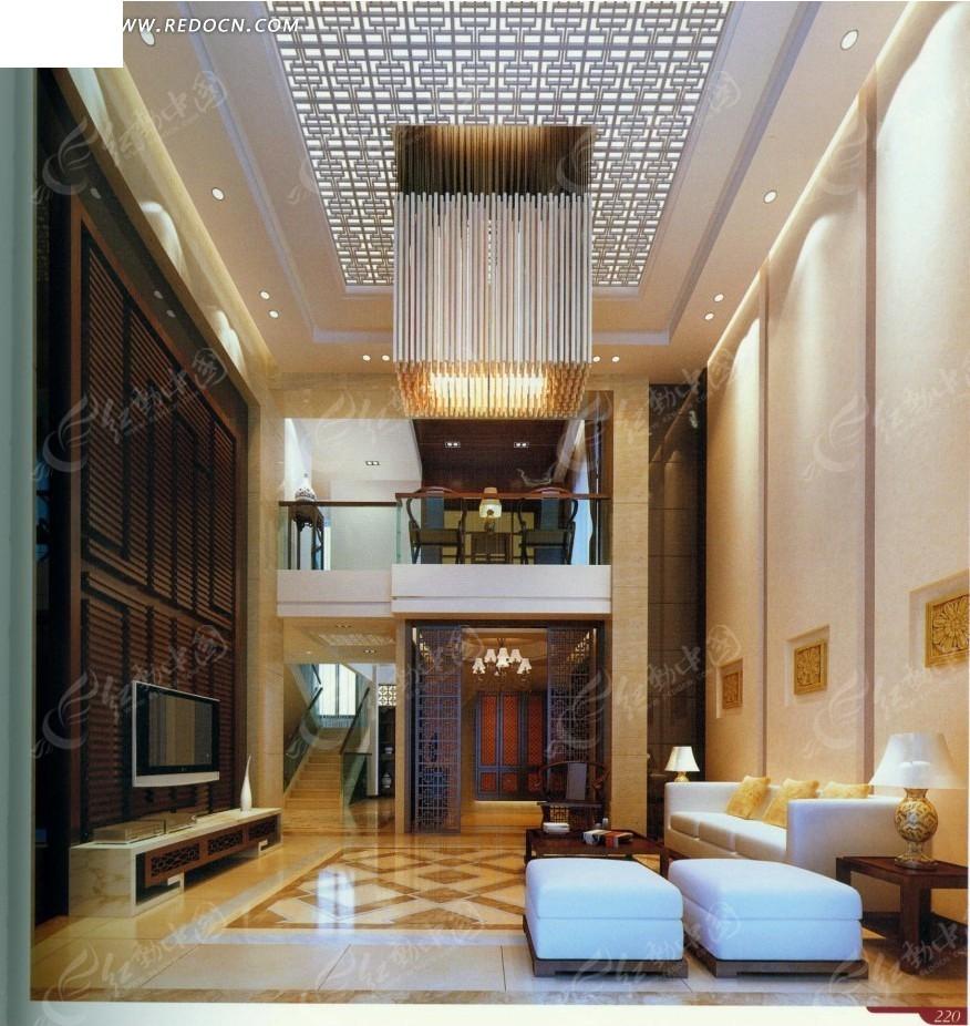 豪华水晶灯复式公寓客厅效果图图片