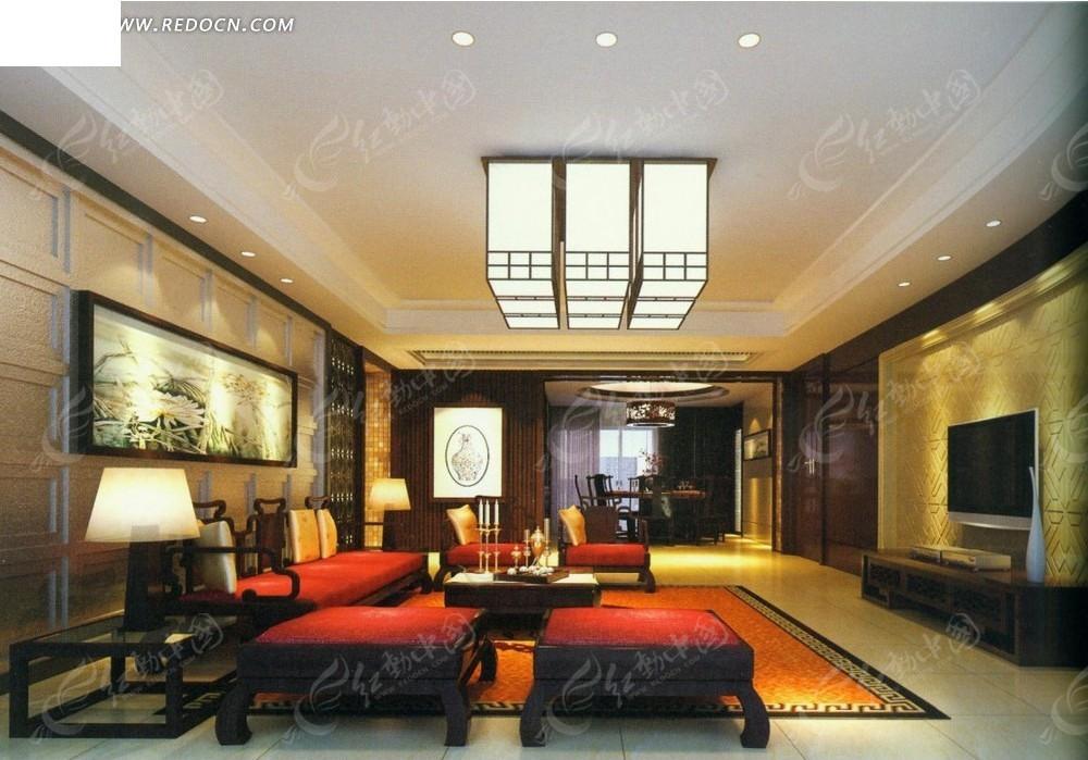 中式古典红色沙发客厅效果图图片