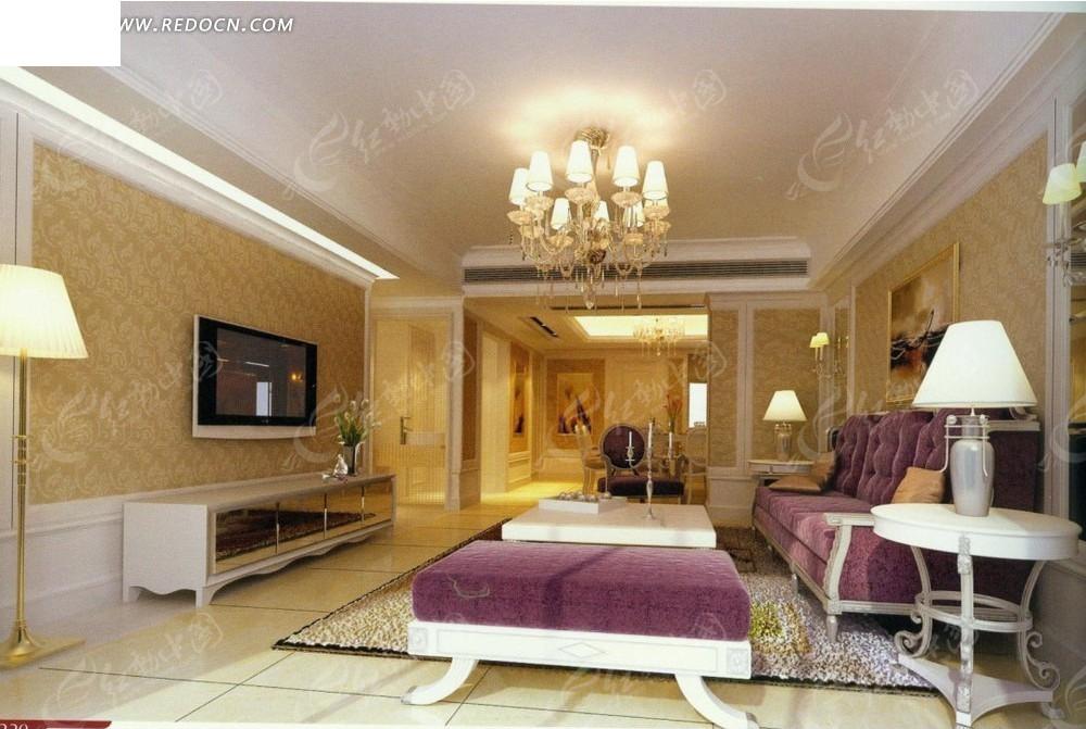 欧式 紫色沙发      沙发 茶几 电视机 电视柜 水晶吊灯 台灯 壁画