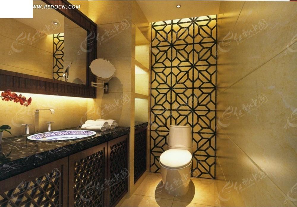 欧式金色卫生间效果图_室内设计图片