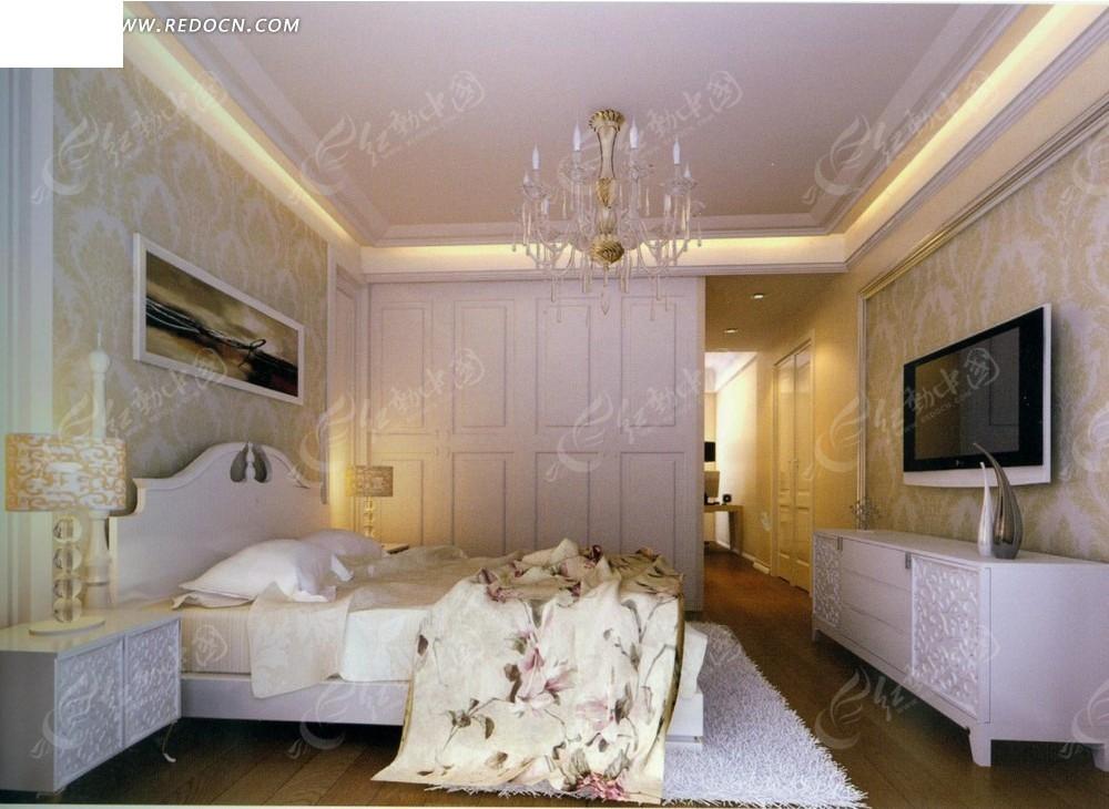 白色地毯卧室效果图