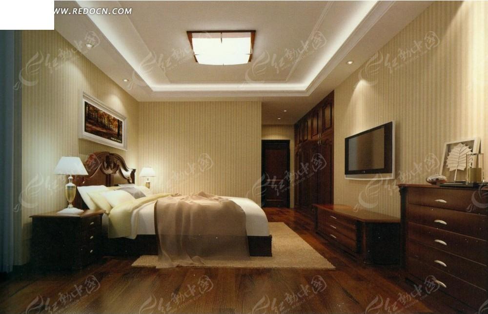免费素材 3d素材 3d模型 室内设计 暖色调酒店标房效果图
