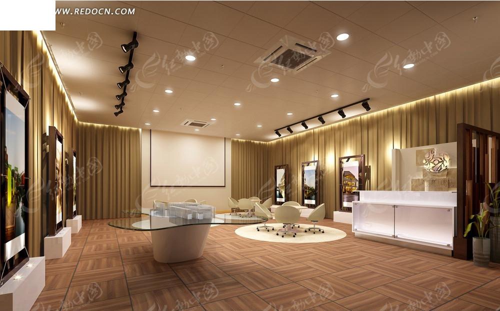 暖色调房地产展厅效果图