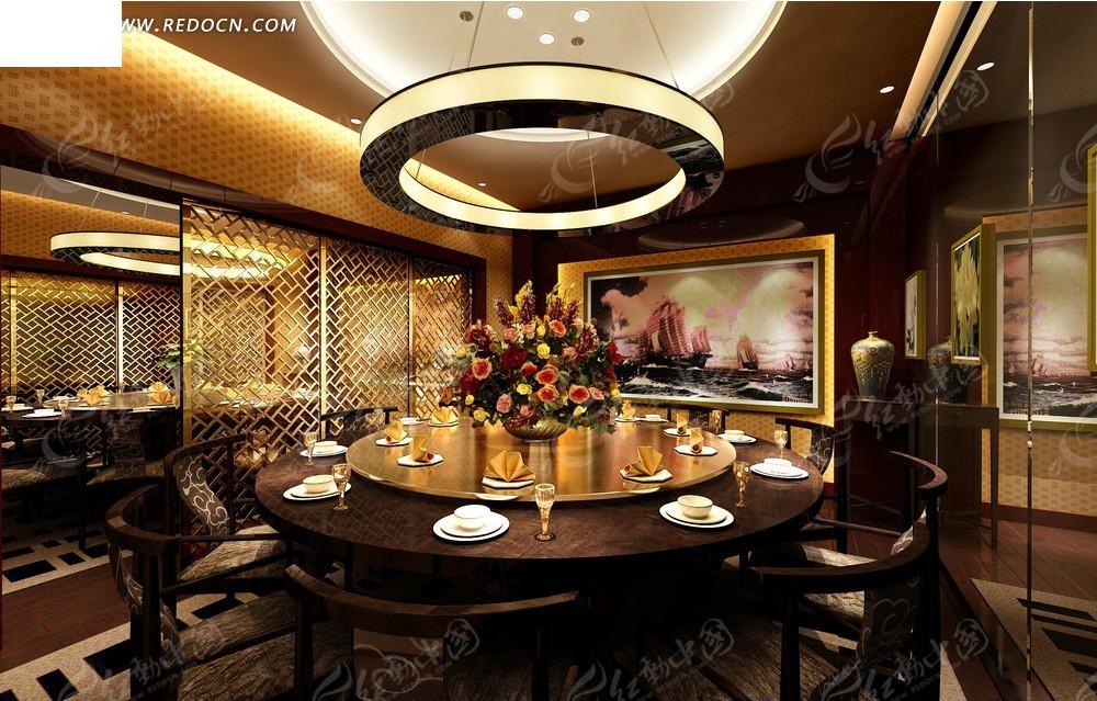免费素材 3d素材 3d模型 室内设计 欧式华丽餐厅效果图  请您分享