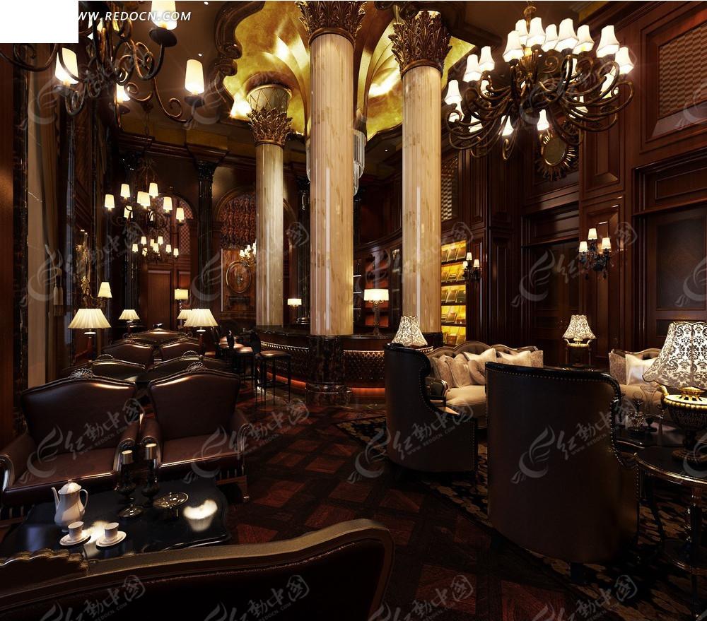 室内设计效果图--西式古典中世纪风格茶室图片