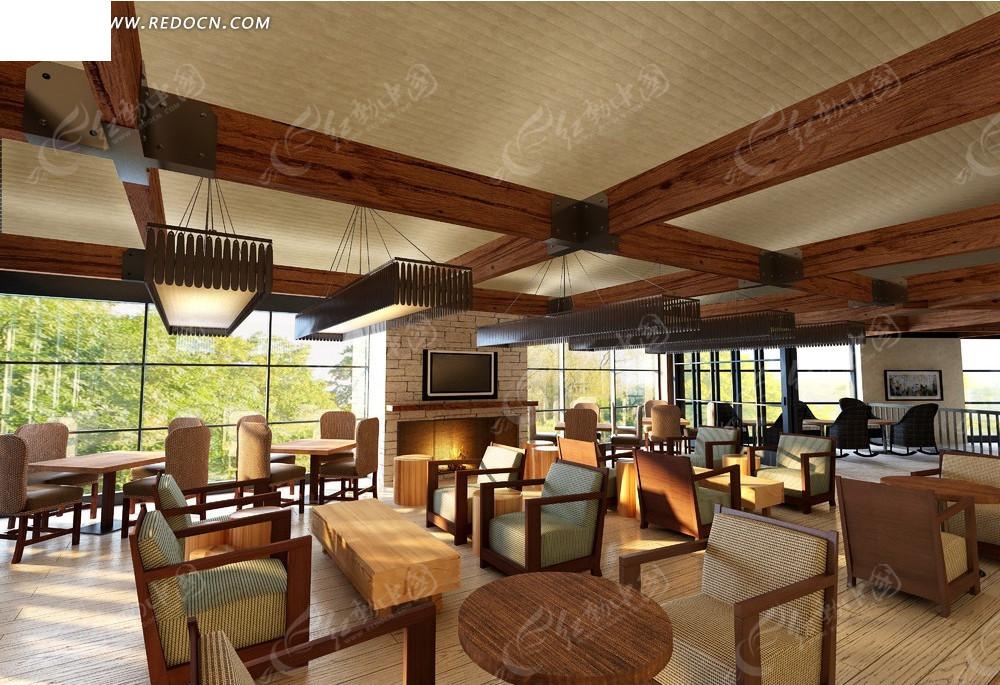 现代木质家具咖啡厅效果图