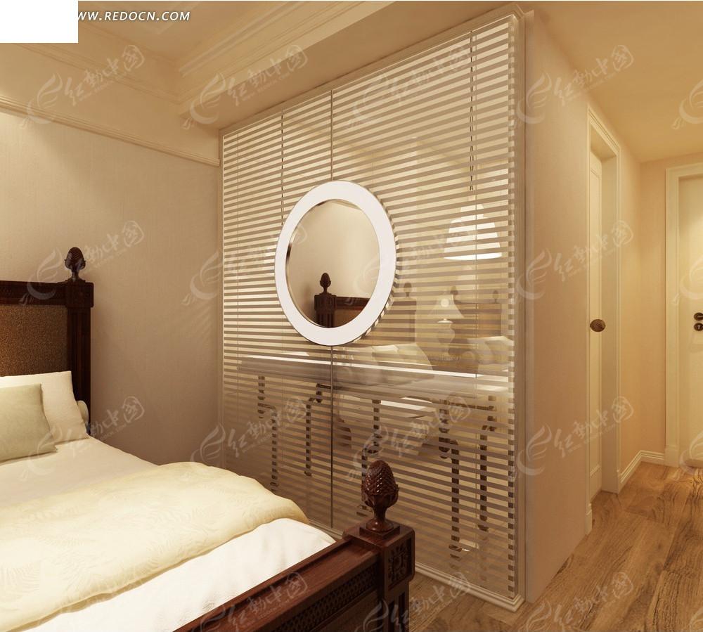 酒店简洁标准房效果图_室内设计