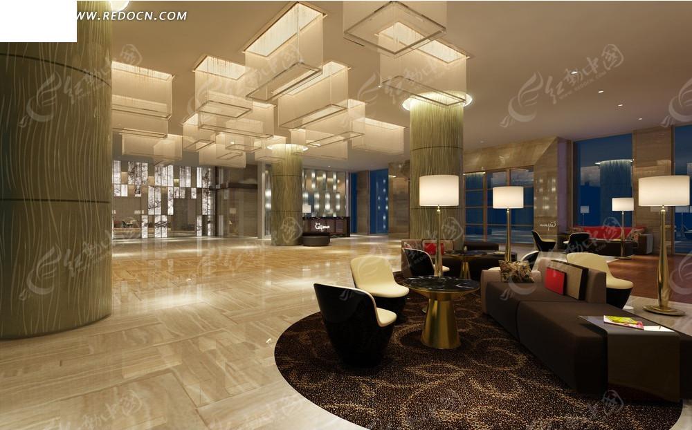 室内设计效果图--现代风格高级会所休息室