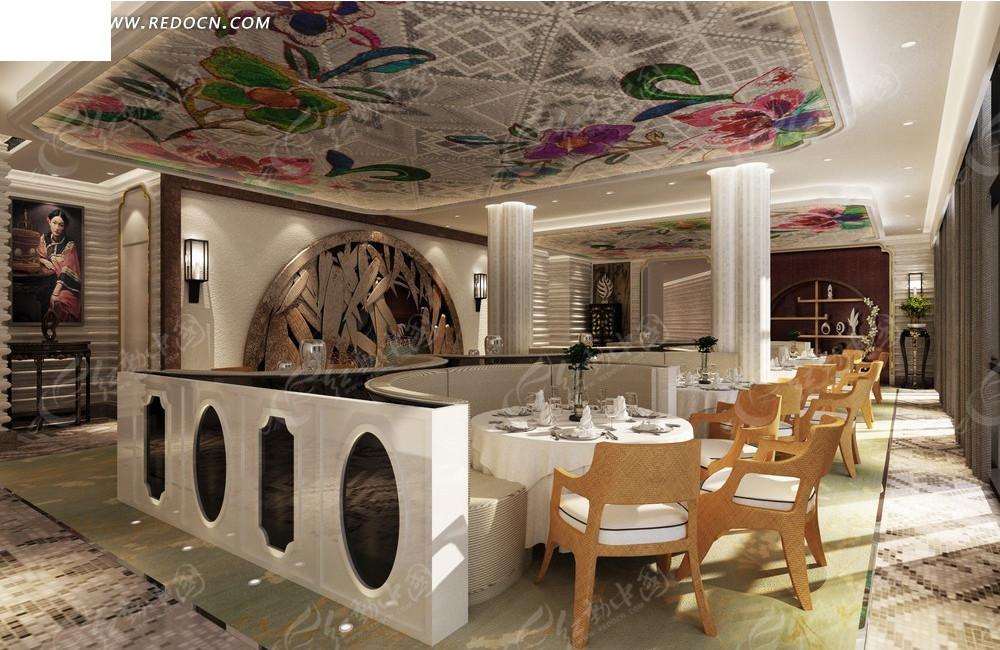 现代时尚 西餐厅 餐桌 椅子 壁画 室内设计 3d效果图 室内装修 装潢