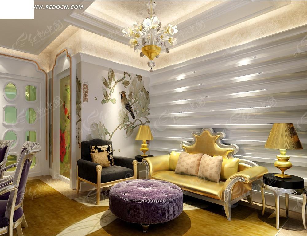 欧式雕花沙发客厅效果图高清图片