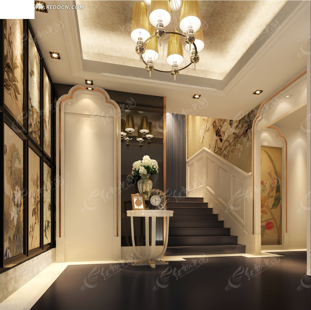 欧式风格名片素材 欧式风格的大门 蓝色欧式风格公司企业画 欧式风格