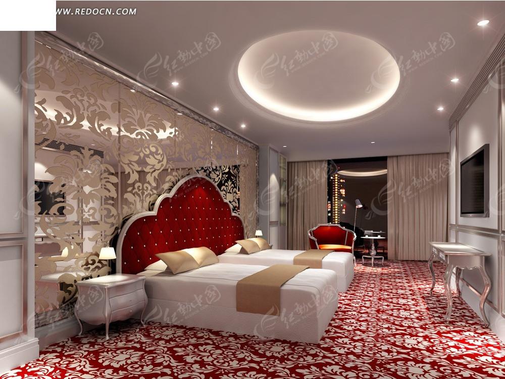 红色花纹地毯双人床卧室效果图