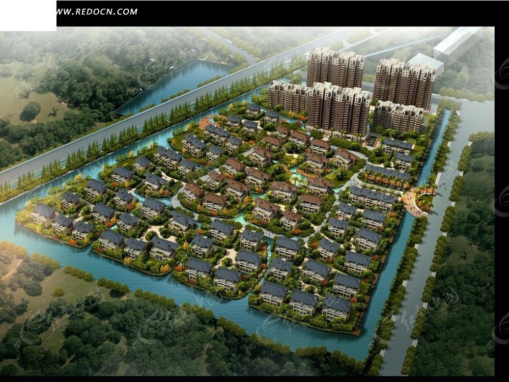 形居民区和河流俯瞰图psd分层素材高清图片