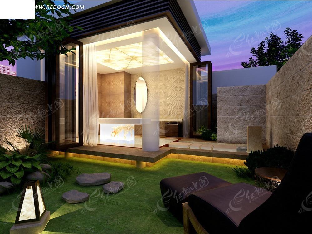 黄昏中的庭院及现代风格开放式亭子图片