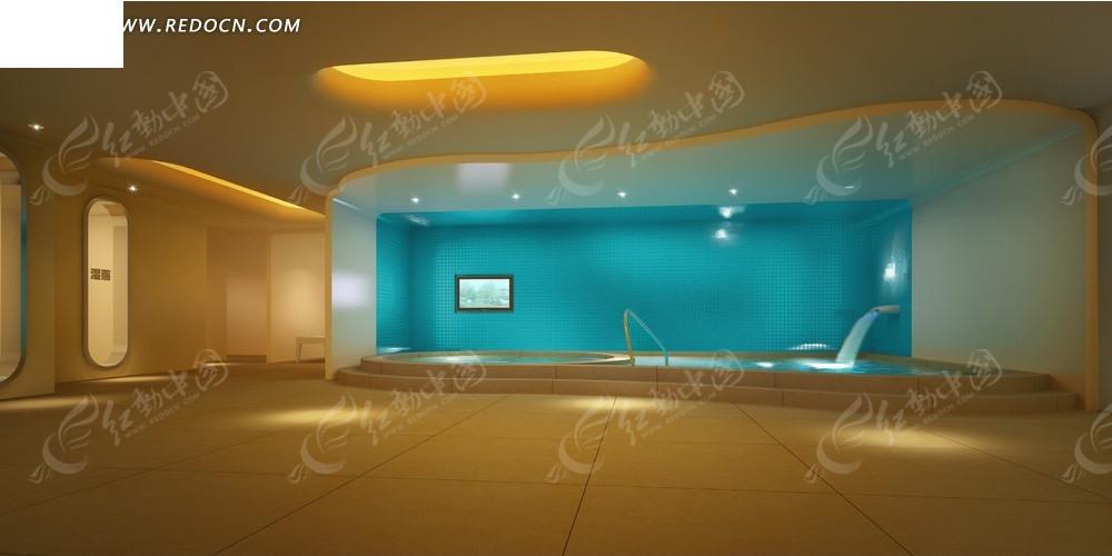 现代蓝色时尚调室内游泳池效果图(承重:205393张a4纸编号设计图图片