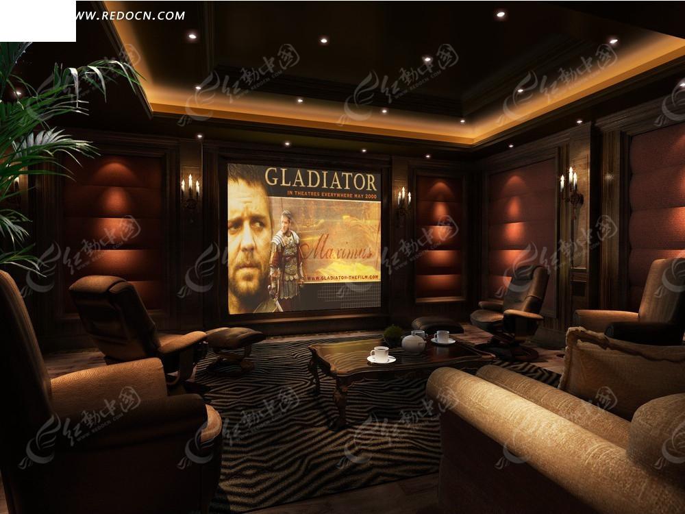 欧式黄暗色调电影院包厢效果图3dmax免费下载图片