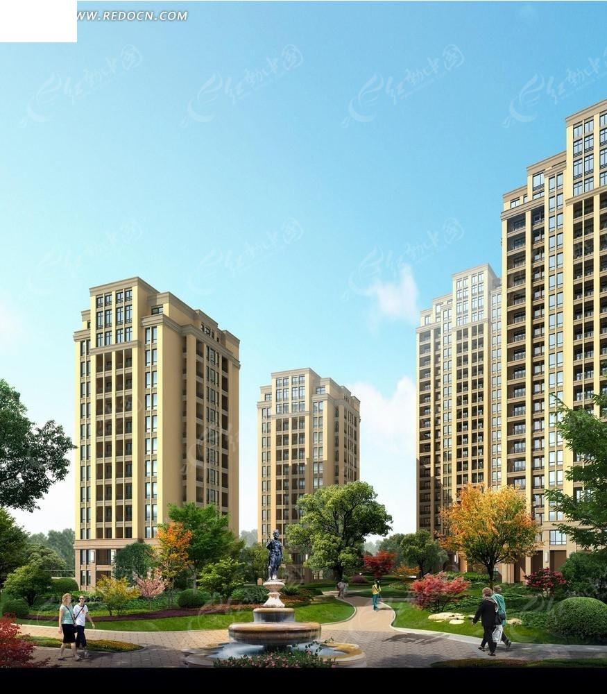天空 蓝天 小高层住宅楼 建筑 道路 行人 psd分层素材 园林设计图片