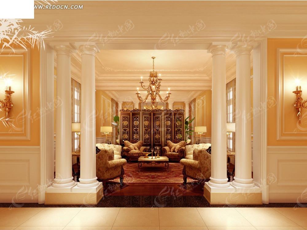 室内设计效果图--尊贵经典欧式风格会客厅