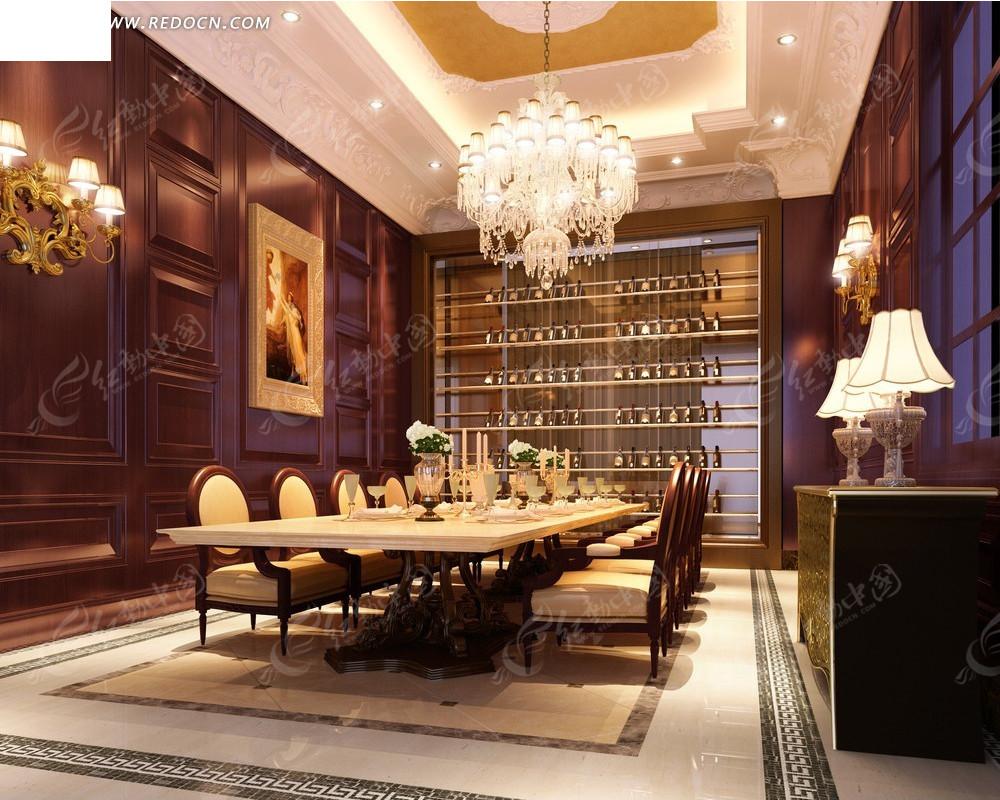 欧式华丽餐厅效果图_室内设计
