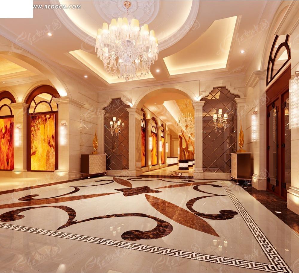 豪华宫殿大厅效果图图片