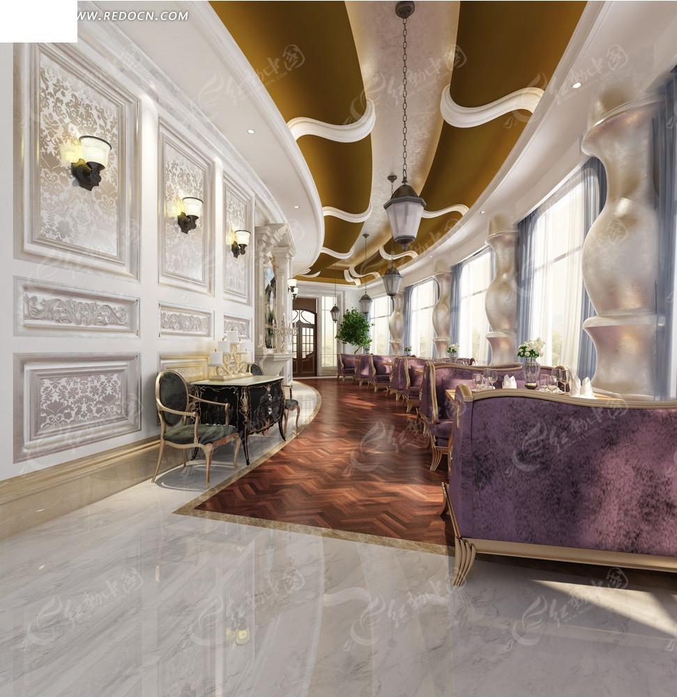 欧式华丽咖啡厅效果图图片