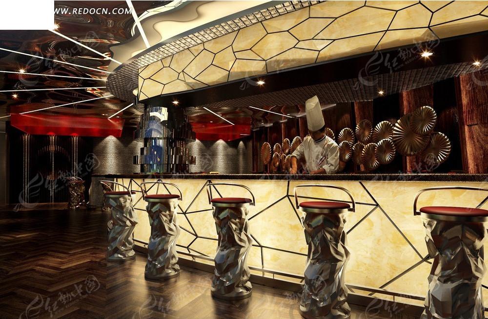 西式餐厅设计效果图--蜂巢状图案和个性座椅