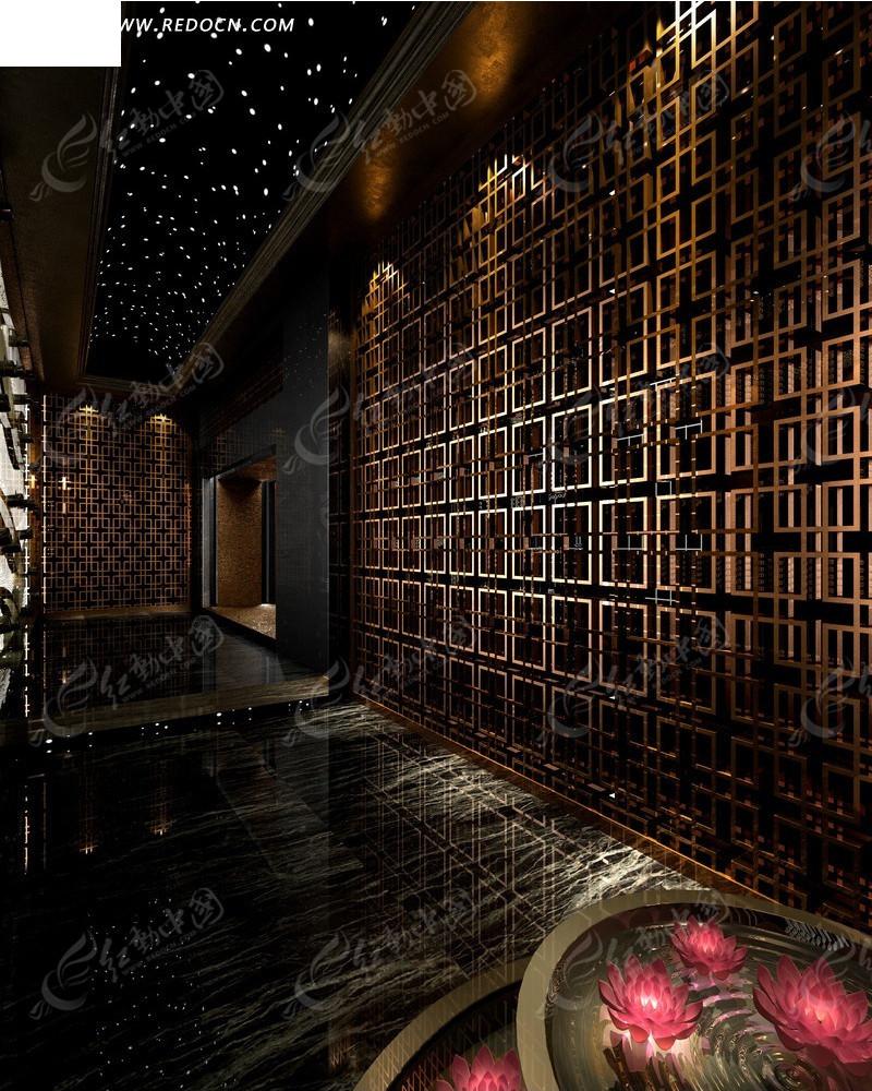 室内设计        走廊 格子墙壁 镂空 木质 星空吊顶 繁星 莲花灯  3d
