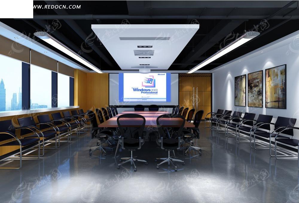 简洁大气会议室效果图3dmax素材免费下载 编号2054529 红动网图片