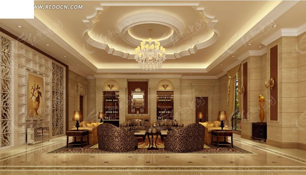 欧式华丽客厅效果图_室内设计