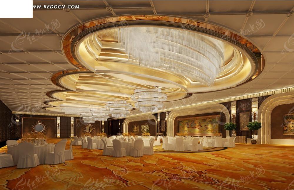 免费素材 3d素材 3d模型 室内设计 奢华水晶吊灯婚宴大厅效果图  请您