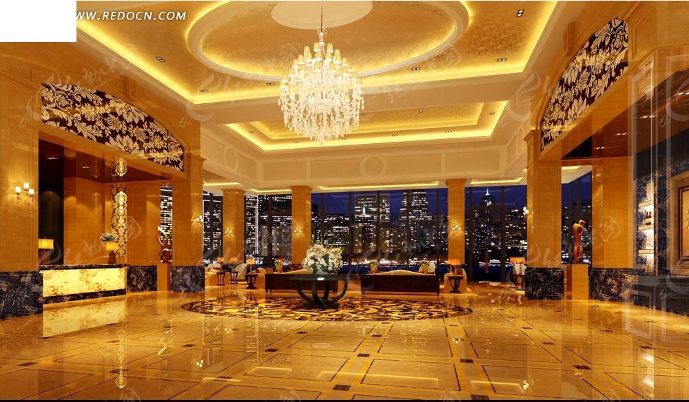 欧式豪华酒店大堂效果图_室内设计