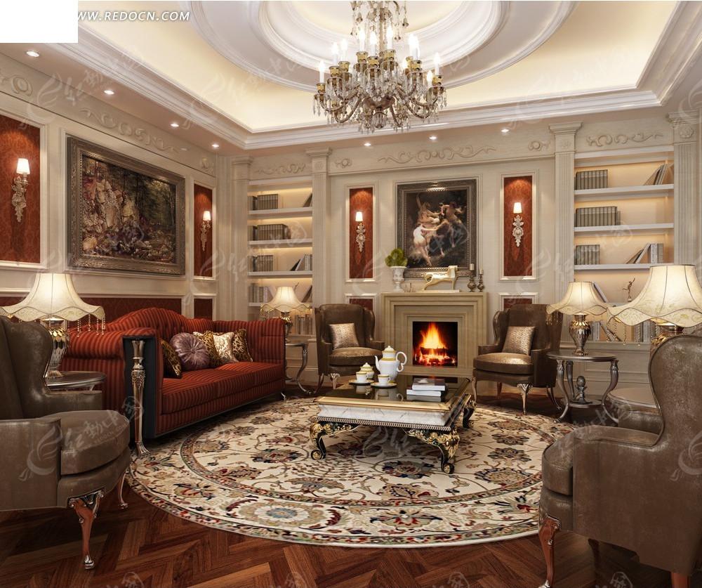 欧式奢华客厅效果图图片