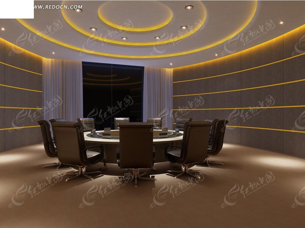 简洁大方圆形会议室效果图_室内设计