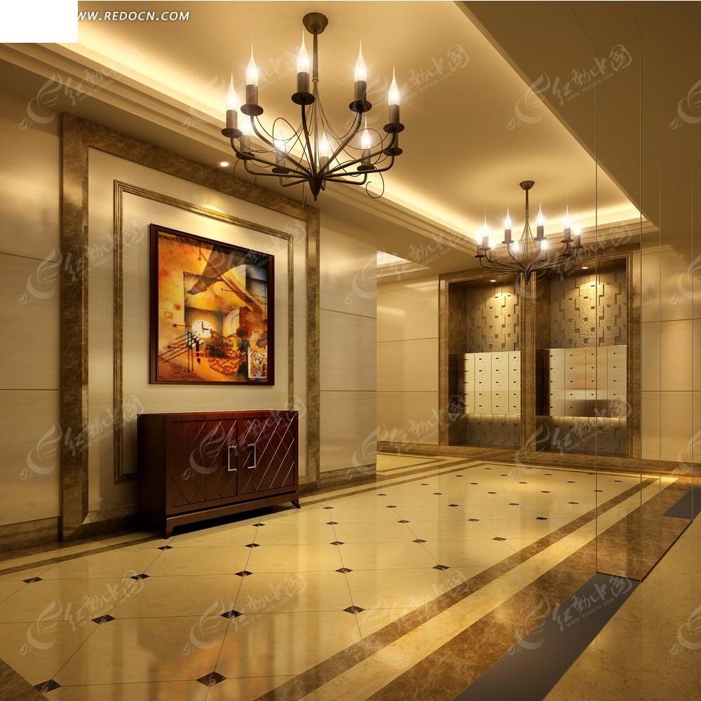 欧式暖色调酒店过道效果图