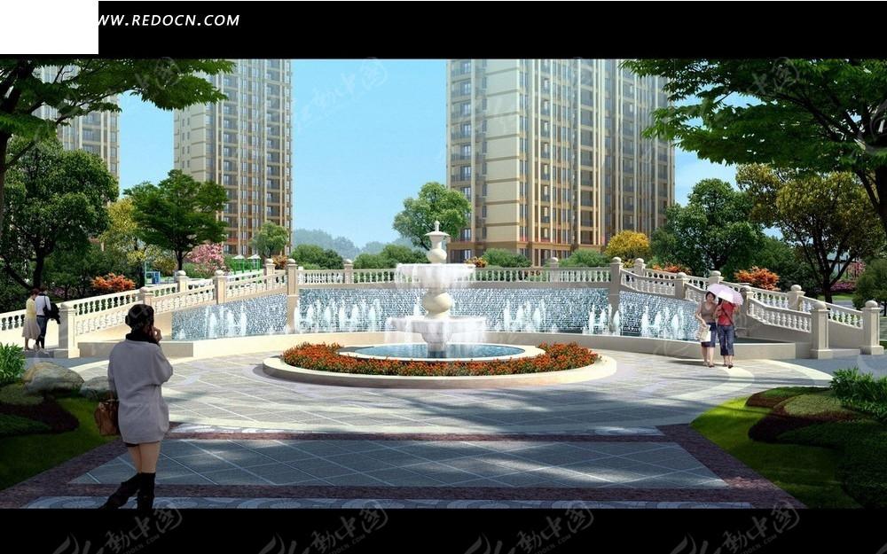 效果图—高楼前的喷水池和广场psd分层