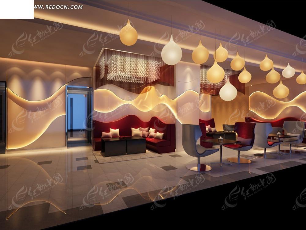 3d休闲咖啡厅餐厅室内装修效果图