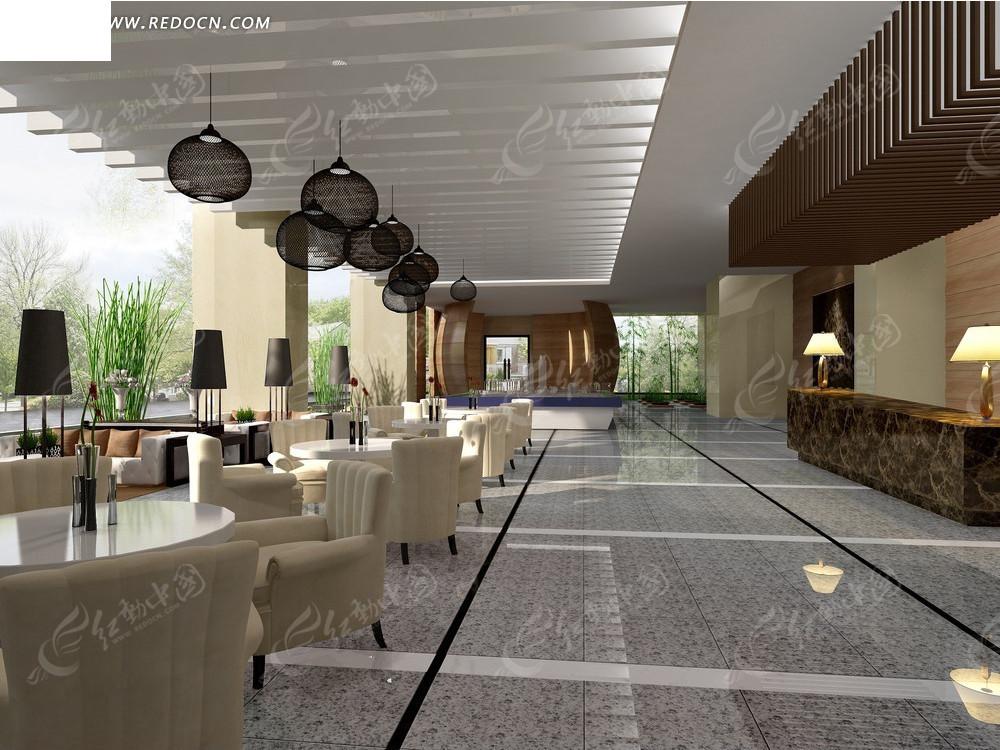 超大露天酒店餐厅效果图3dmax素材免费下载_红动网