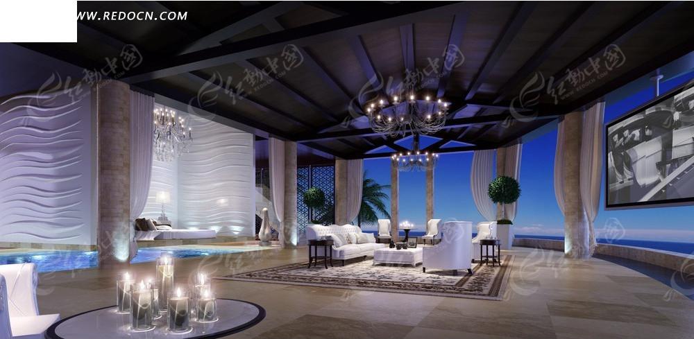 欧美风格室内装�_豪华欧美风格海景房夜景室内设计效果图