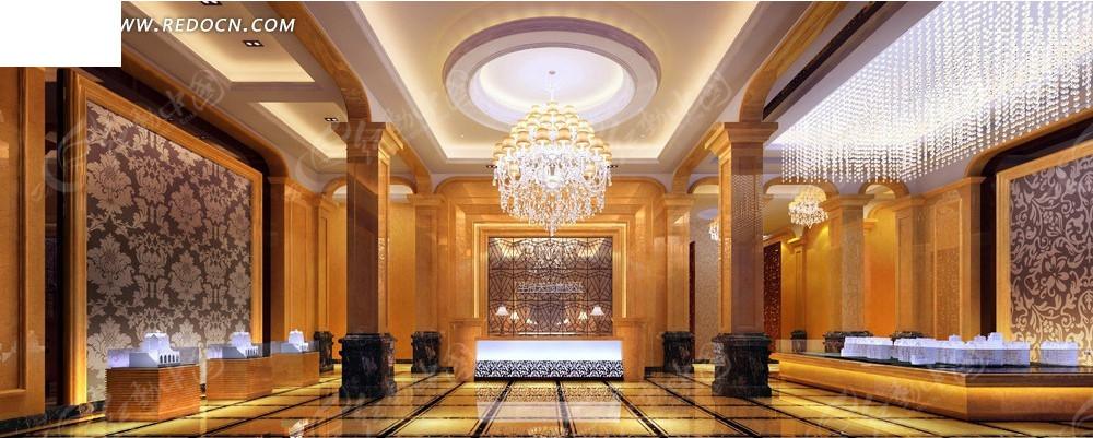 欧式豪华水晶吊灯售楼大堂效果图图片