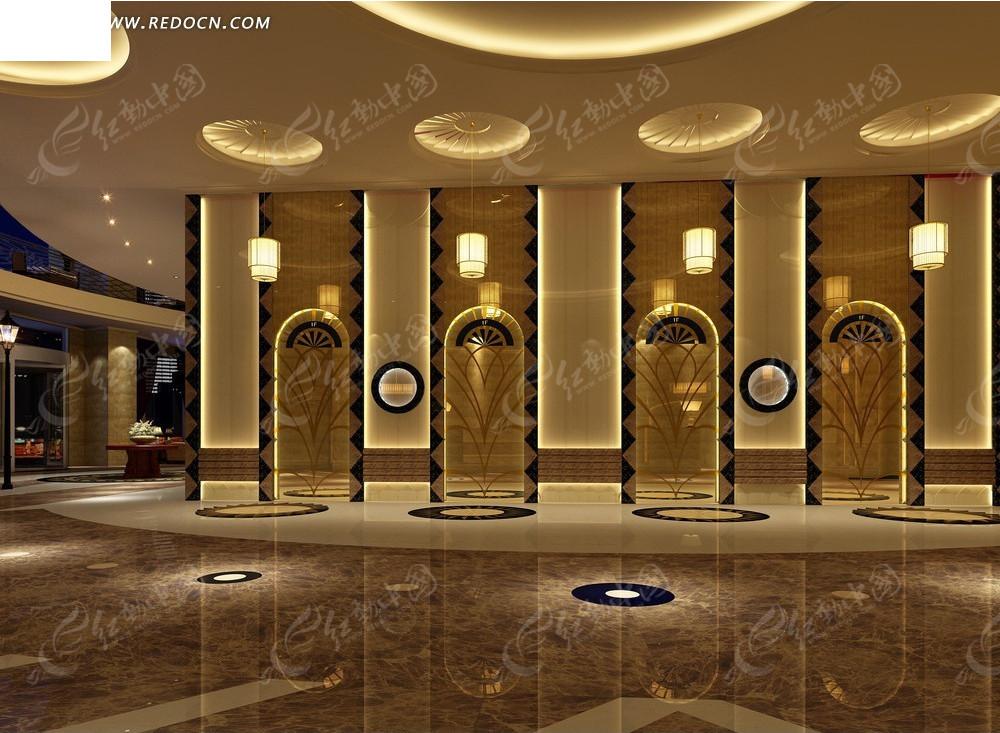 现代时尚酒店大厅效果图高清图片