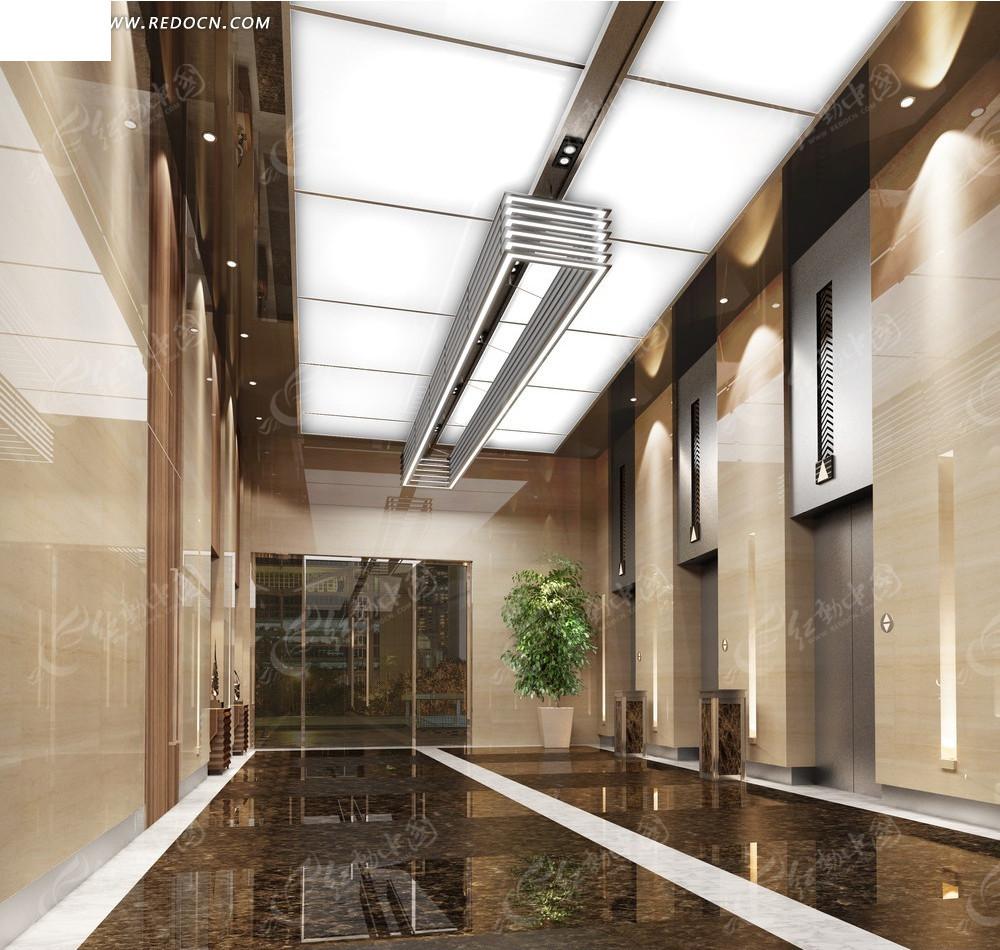 现代时尚大型企业一楼电梯厅效果图