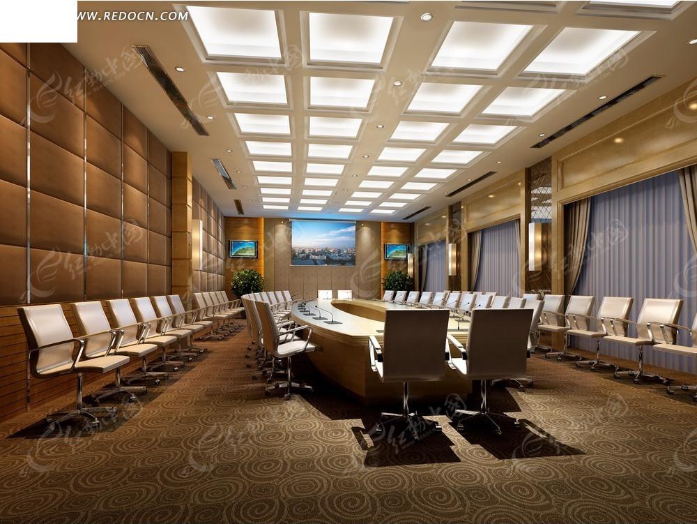 欧式华丽会议室效果图3dmax免费下载 室内设计素材图片