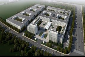 建筑效果图--城郊的白色现代化方形厂区俯视图