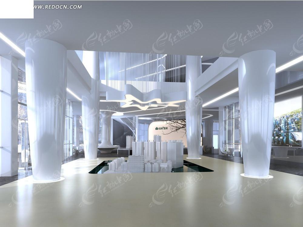 现代时尚楼盘展厅效果图